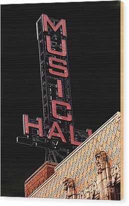 Music Hall Sign Wood Print