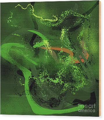 Wood Print featuring the painting Music In Green by Sgn