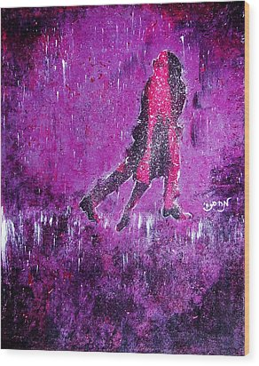 Music Inspired Dancing Tango Couple In Purple Rain Contemporary Lyrical Splattered And Emotional Wood Print