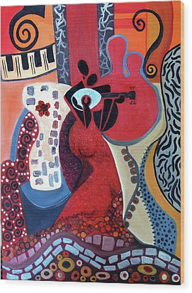 Music Is Love Wood Print by Niki Sands