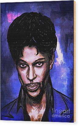 Wood Print featuring the painting Music Legend  Prince by Andrzej Szczerski