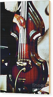 Music Man Bass Violin Wood Print by Linda  Parker