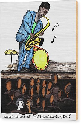 Music Man Cartoon Wood Print