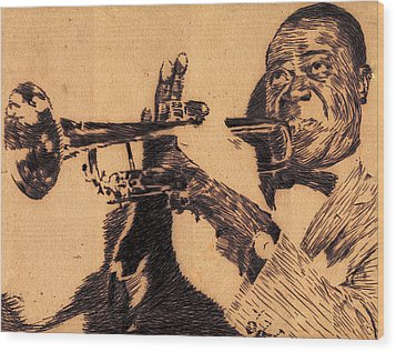 Music Man Wood Print by Robbi  Musser