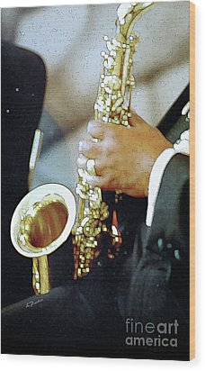 Music Man Saxophone 1 Wood Print by Linda  Parker
