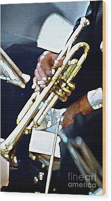 Music Man Trumpet Wood Print by Linda  Parker