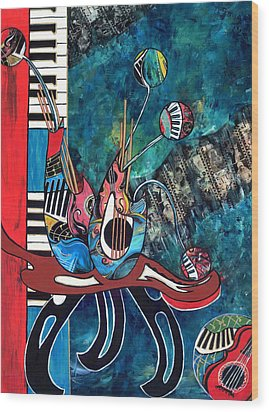 Music Mania Wood Print by Cheryl Ehlers