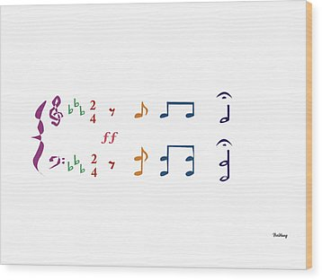 Wood Print featuring the digital art Music Notes 1 by David Bridburg