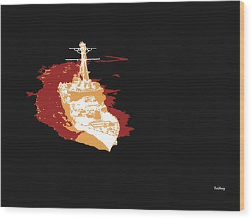 Wood Print featuring the digital art Music Notes 11 by David Bridburg