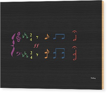 Wood Print featuring the digital art Music Notes 35 by David Bridburg