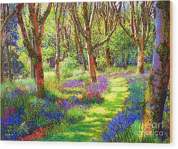 Music Of Light, Bluebell Woods Wood Print by Jane Small