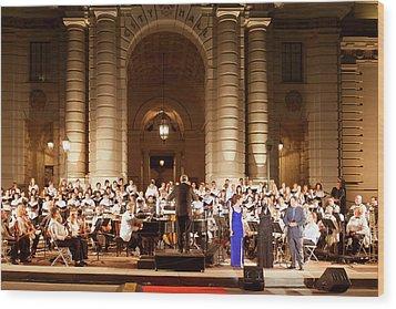 Wood Print featuring the photograph Music Under The Stars - Symphony At Pasadena City Hall California by Ram Vasudev