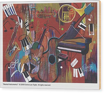Musical Instruments 1 Wood Print by Everna Taylor