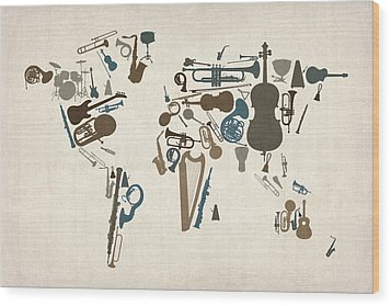 Musical Instruments Map Of The World Map Wood Print by Michael Tompsett