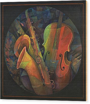 Musical Mandala - Features Cello And Sax's Wood Print by Susanne Clark