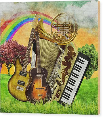 Musical Wonderland Wood Print by Ally White