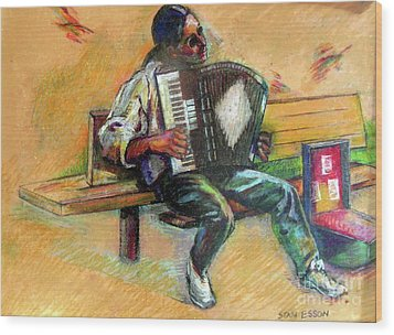 Wood Print featuring the drawing Musician With Accordion by Stan Esson