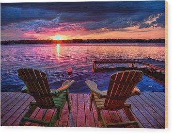 Wood Print featuring the photograph Muskoka Chair Sunset by Michaela Preston