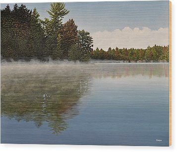Muskoka Morning Mist Wood Print by Kenneth M  Kirsch
