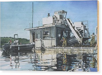 Mussel Harvest On Penn Cove Wood Print by Perry Woodfin