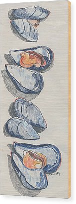 Mussels Wood Print by Jan Bennicoff
