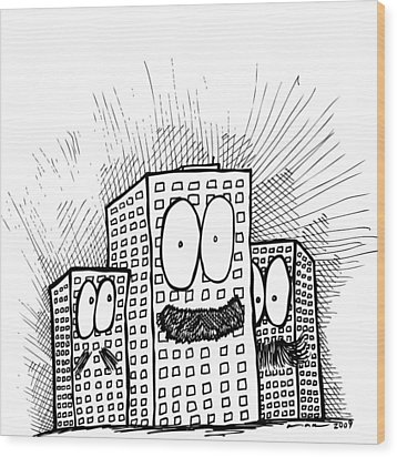 Mustachio Buildings Wood Print by Karl Addison
