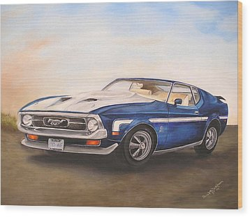 Mustang Wood Print by Anna-Maria Dickinson