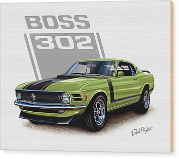 Mustang Boss 302 Grabber Green Wood Print by David Kyte