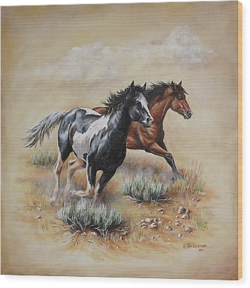 Mustang Glory Wood Print by Kim Lockman