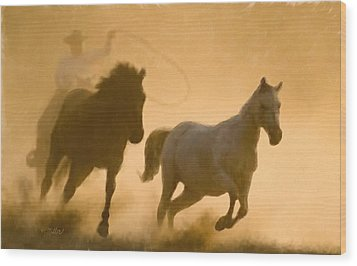 Mustang Roundup Wood Print
