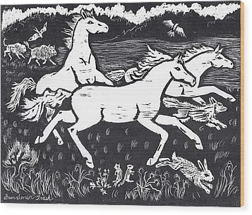 Mustangs Frisking On The High Plains Wood Print by Dawn Senior-Trask