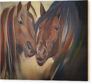 Mustangs Wood Print by Marika Evanson
