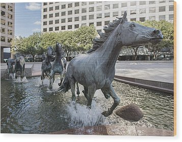 Mustangs Of Las Colinas Sculpture In Irving Texas Wood Print by Carol M Highsmith