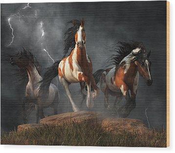 Wood Print featuring the digital art Mustangs Of The Storm by Daniel Eskridge