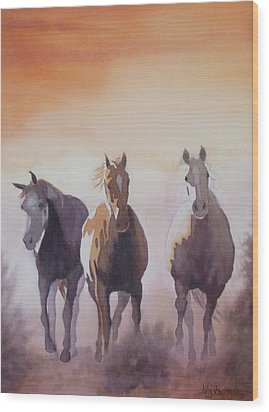 Mustangs Out Of The Fire Wood Print by Ally Benbrook