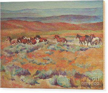 Mustangs Running Near White Mountain Wood Print by Karen Brenner