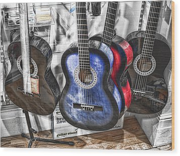 Muted Guitars Wood Print