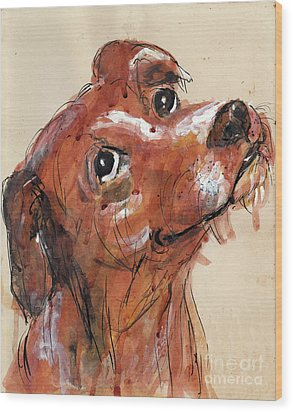 Mutt Wood Print by Doris Blessington