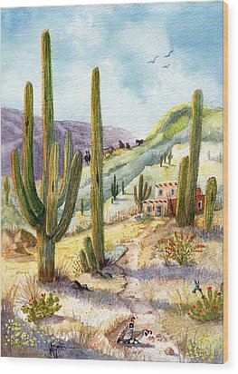 Wood Print featuring the painting My Adobe Hacienda by Marilyn Smith