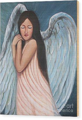 My Angel In Blue Wood Print