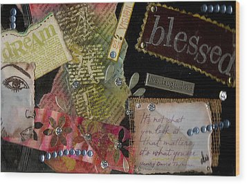 My Art Journal - Blessed Wood Print by Angela L Walker