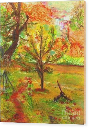 My Art Teacher's Crab Apple Tree Wood Print by Helena Bebirian