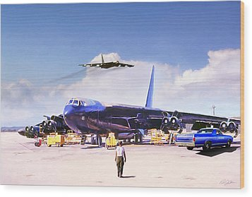 Wood Print featuring the digital art My Baby B-52 by Peter Chilelli