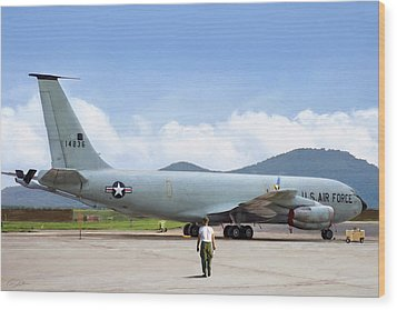 Wood Print featuring the digital art My Baby Kc-135 by Peter Chilelli