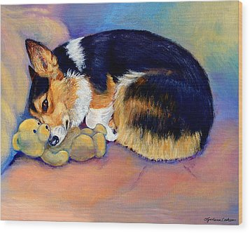 My Baby Pembroke Welsh Corgi Wood Print by Lyn Cook