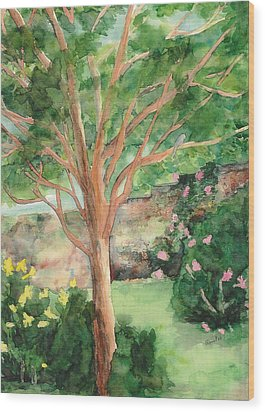 Wood Print featuring the painting My Backyard by Vicki  Housel