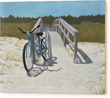 Wood Print featuring the pastel My Blue Bike by Jan Amiss