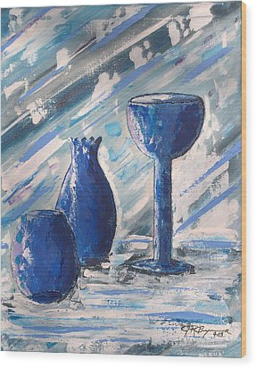 My Blue Vases Wood Print by J R Seymour