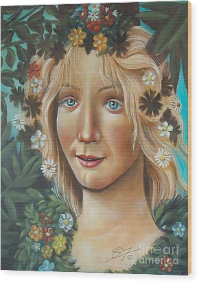 Wood Print featuring the painting My Botticelli by Sgn