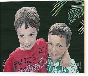 My Brother's My Pal Wood Print by Tobi Czumak